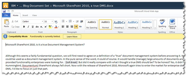 Microsoft SharePoint 2010, is it a true Document Management System