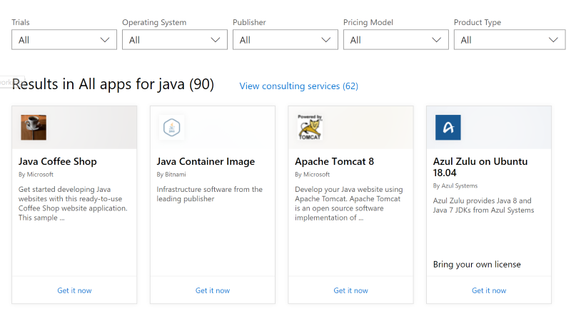 JavaAzureMarketPlace